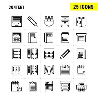 Inhoudslijn icon pack: boek, bladwijzer, inhoud, inhoud, pennen, zak, inhoud