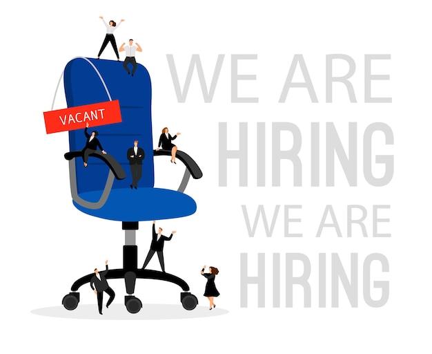 Inhuren concept met bureaustoel. huur professionele mensen in die werknemerskandidaten zoeken voor zakelijke carrière, personeelswerving afbeelding met hr mannen en vrouwen vector illustratie