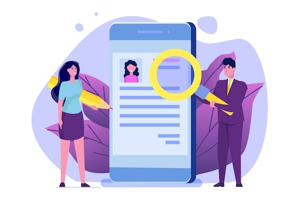 Inhuren selecteer cv procesconcept hr-managers van het bedrijf die een medewerker online inhuren