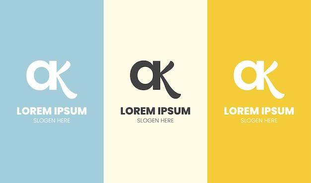 Initia ak fancy letter logo sjabloon