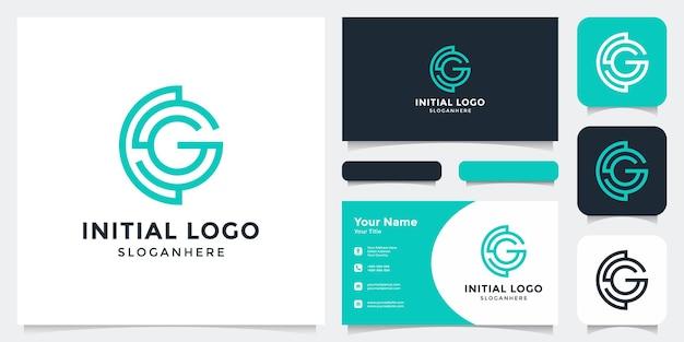 Initiaal g-logo met visitekaartje