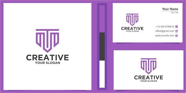 Initiaal t of m logo met visitekaartjed