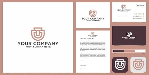 Initiaal t of u of tu logo met visitekaartje