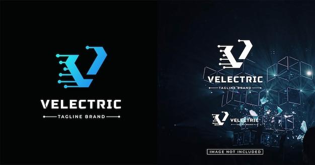 Initiaal v logo ontwerpsjabloon techonolgy stijl Premium Vector