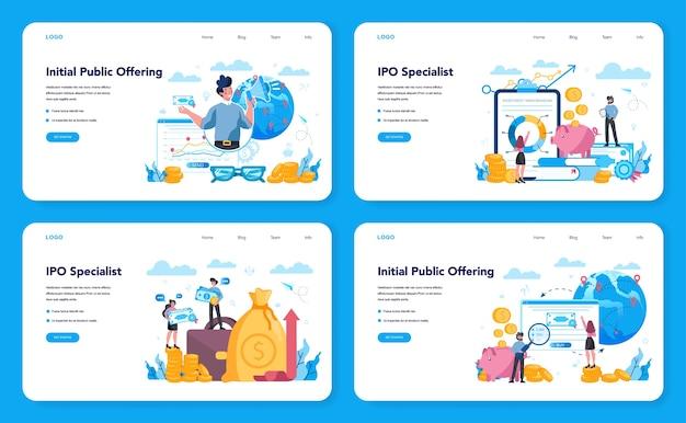 Initial public offerings specialist webbanner of bestemmingspagina set. ipo-adviseur. investeringsstrategie. idee van geldstijging en financieringsgroei. vectorillustratie in vlakke stijl