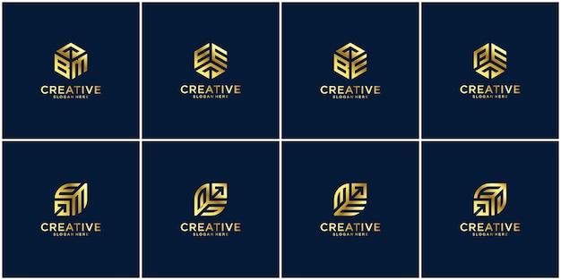Initial set logo design inspiratie