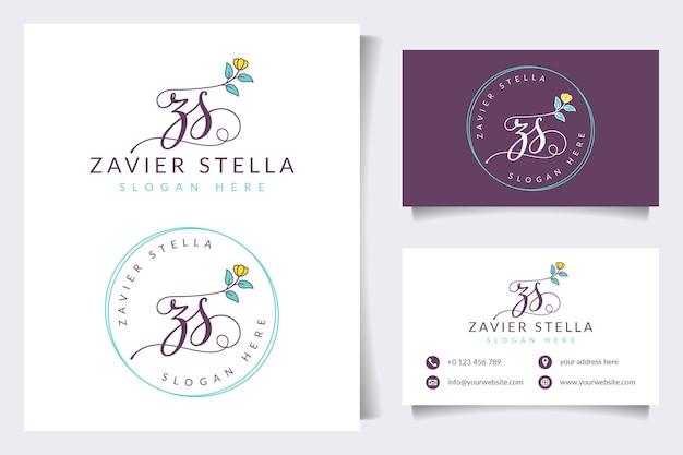 Initial zs vrouwelijke logo-collecties met sjabloon voor visitekaartjes