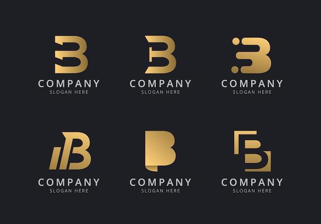 Initialen b-logosjabloon met een gouden stijlkleur voor het bedrijf