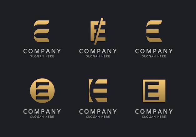 Initialen e-logosjabloon met een gouden stijlkleur voor het bedrijf