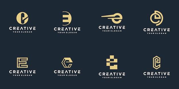Initialen e-logosjabloon met een gouden stijlkleur