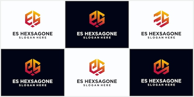 Initialen es hexagon logo monogram