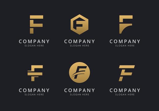 Initialen f-logosjabloon met een gouden stijlkleur voor het bedrijf