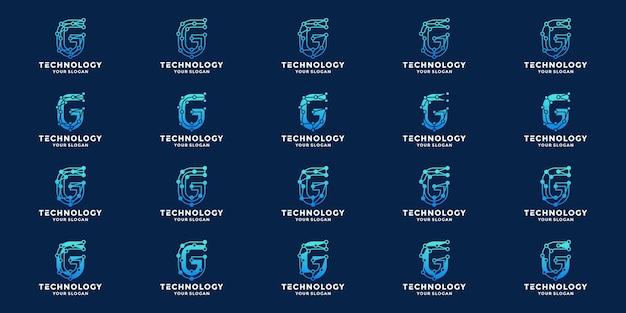 Initialen g technologie logo ontwerpset collecties