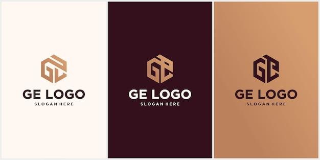 Initialen ge hexagon logo monogram
