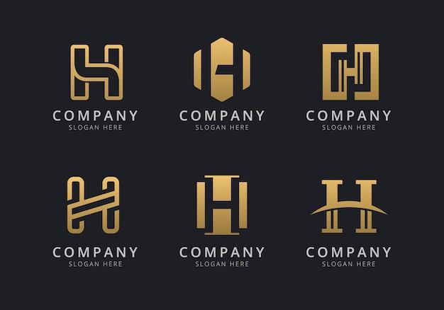 Initialen h-logosjabloon met een gouden stijlkleur voor het bedrijf