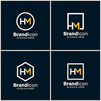 Initialen hm logo ontwerpsjabloon
