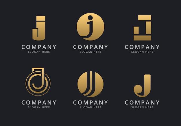 Initialen j-logosjabloon met een gouden stijlkleur voor het bedrijf