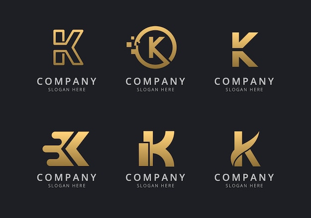 Initialen k-logosjabloon met een gouden stijlkleur voor het bedrijf