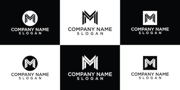 Initialen letter m logo sjabloon