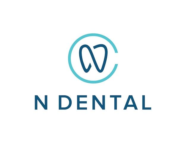 Initialen letter n omtrek tand eenvoudig strak creatief geometrisch modern logo-ontwerp