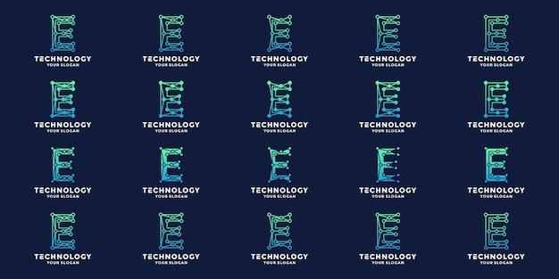 Initialen letters e logo ontwerp collecties technologie concept