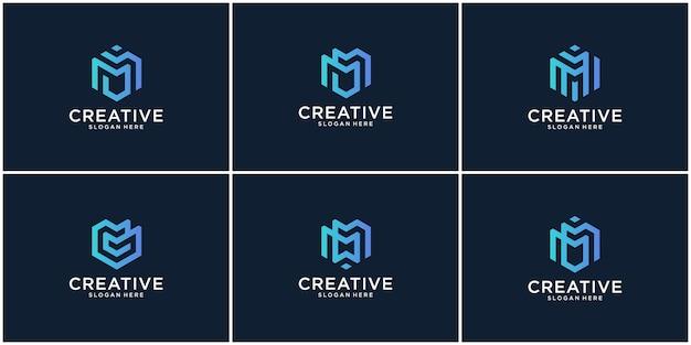 Initialen m-logo met een gouden stijlkleur voor het bedrijf