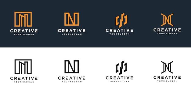 Initialen n lijn monogram logo sjabloon