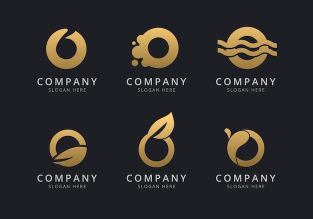 Initialen o-logosjabloon met een gouden stijlkleur voor het bedrijf