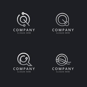 Initialen q-lijn monogram logo sjabloon met zilveren stijlkleur voor het bedrijf