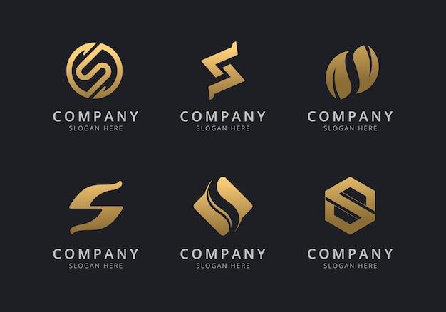 Initialen s-logosjabloon met een gouden stijlkleur voor het bedrijf