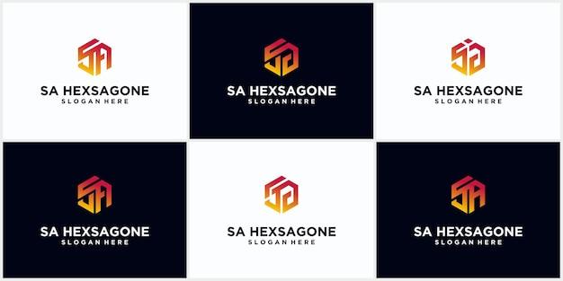 Initialen sa hexagon logo monogram