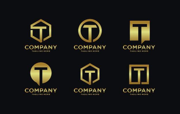 Initialen t-logosjabloon met een gouden stijlkleur voor het bedrijf