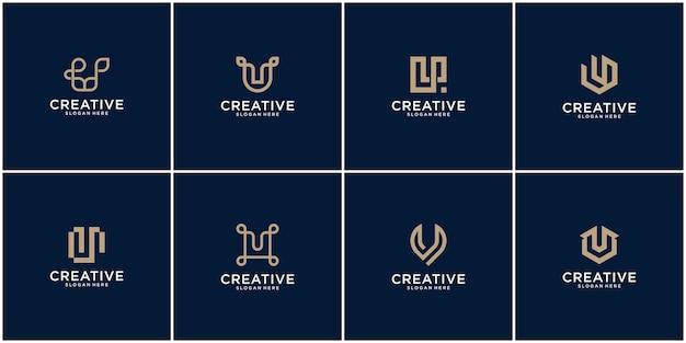 Initialen u-logo met een gouden stijlkleur voor het bedrijf