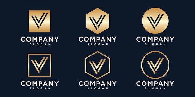 Initialen v logo sjabloon met een gouden stijlkleur