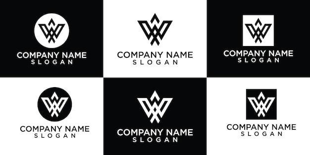 Initialen w logo sjabloon