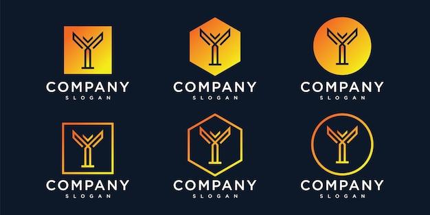 Initialen y logo ontwerpsjabloon voor het bedrijf Premium Vector