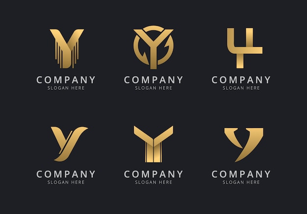 Initialen y-logosjabloon met een gouden stijlkleur voor het bedrijf