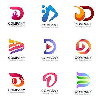 Initiële letter d logo sjabloonverzameling