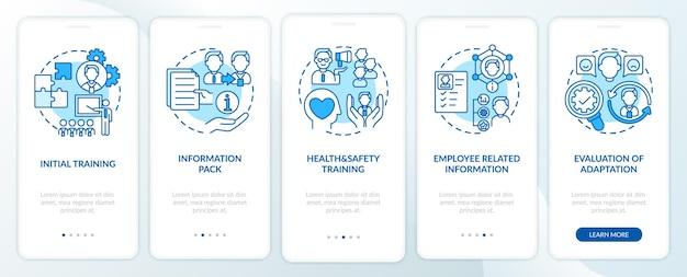 Initiële training en basisinformatie onboarding mobiele app-paginascherm met concepten. 5 stappen ui-sjabloon voor gezondheid en veiligheid met rgb-kleurenillustraties