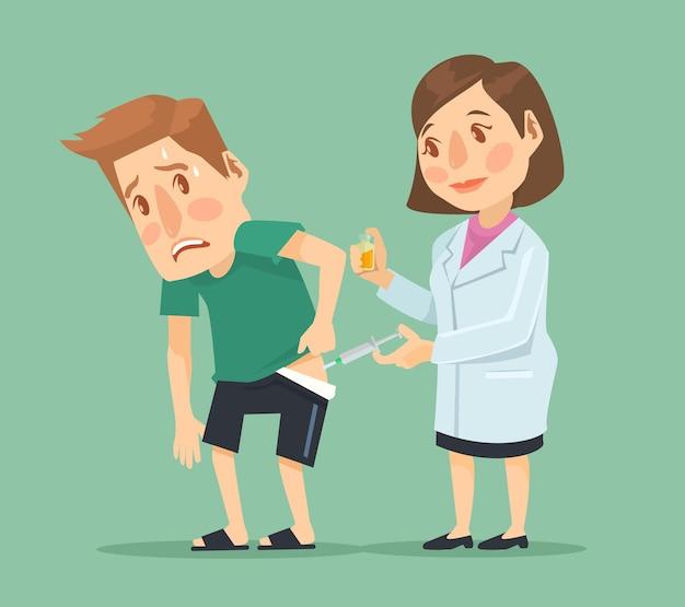 Injectie platte cartoon afbeelding