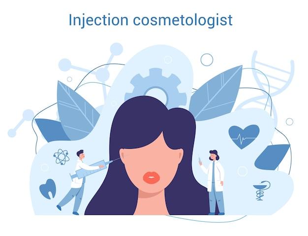 Injectie schoonheidsspecialist. plastische chirurgie concept. idee van correctie van lichaam en gezicht. neuscorrectie in het ziekenhuis en tegen veroudering.