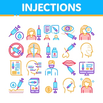 Injecties collection elements icons set