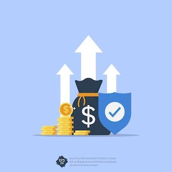 Inkomen bescherming concept met schild symbool illustratie.