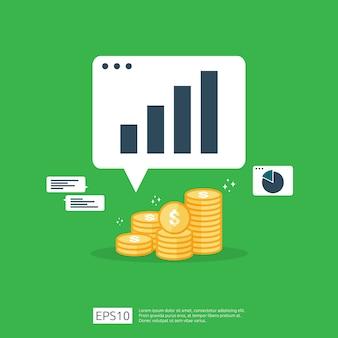 Inkomen salaris dollar koersstijging statistiek. omzetgroei bedrijfsmarge. financiële prestaties van roi-investeringsrendementconcept met pijl. kosten verkoop pictogram vlakke stijl