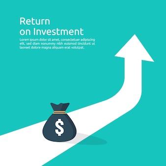 Inkomen salaris dollar koersstijging statistiek. omzetgroei bedrijfsmarge. financiële prestaties van roi-investeringsrendementconcept met pijl.