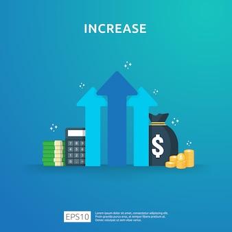 Inkomen salarisverhoging. financiënprestaties van rendement op investering roi concept met pijl. bedrijfswinst groei marge omzet. kosten verkoop pictogram. dollar symbool vlakke stijl illustratie