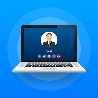 Inkomend videogesprek op laptop. laptop met inkomende oproep, man profielfoto en accepteren weigeren knoppen. illustratie.