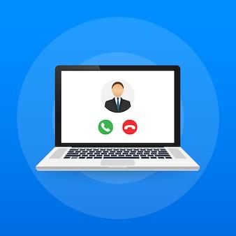 Inkomend videogesprek op laptop. laptop met inkomende oproep, man profielfoto en afwijzen knoppen accepteren