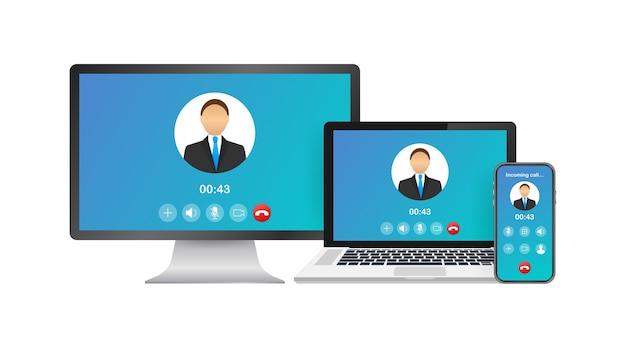 Inkomend videogesprek op laptop. laptop met inkomende oproep, profielfoto van een man en afwijzingsknoppen accepteren