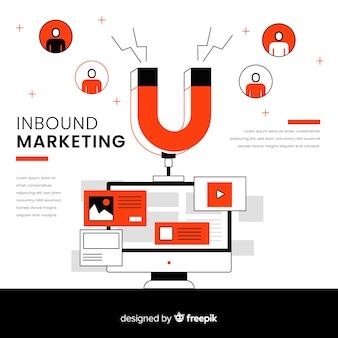 Inkomende marketing achtergrondsjabloon